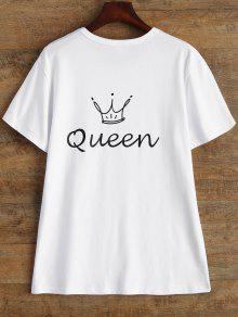Jewel Neck Reine Couronne T-shirt - Blanc S