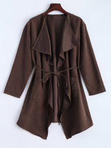 Buy Faux Suede Duster Coat - BROWN L