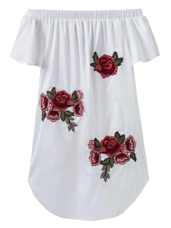 الفستان القصير بنمط الزهور بلا أكتاف - أبيض L