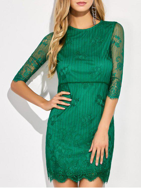 فستان سكالوب مصغر زهري الدانتيل - أخضر XL