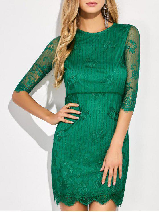 Vestido de encaje floral Mini festoneado - Verde L