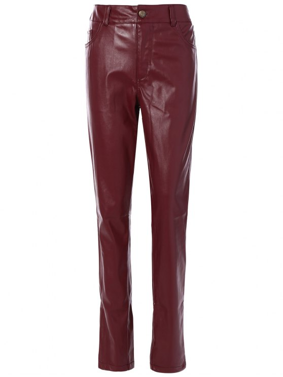 ladies Skinny Pockets Faux Leather Pants - BURGUNDY S