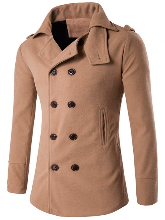 latest Stand Collar Double Breasted Epaulet Wool Coat - KHAKI M