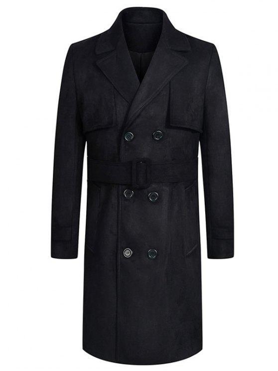 معطف من جلد الغزال طوق طوق إطالة تصميم حزام مزدوجة الصدر - أسود M