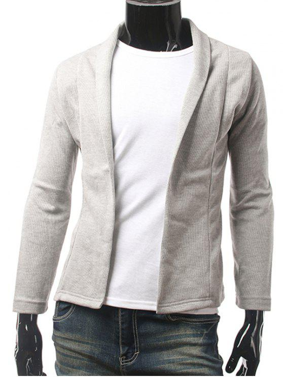 Slim Fit Chal Collar Cardigan - Gris Claro L