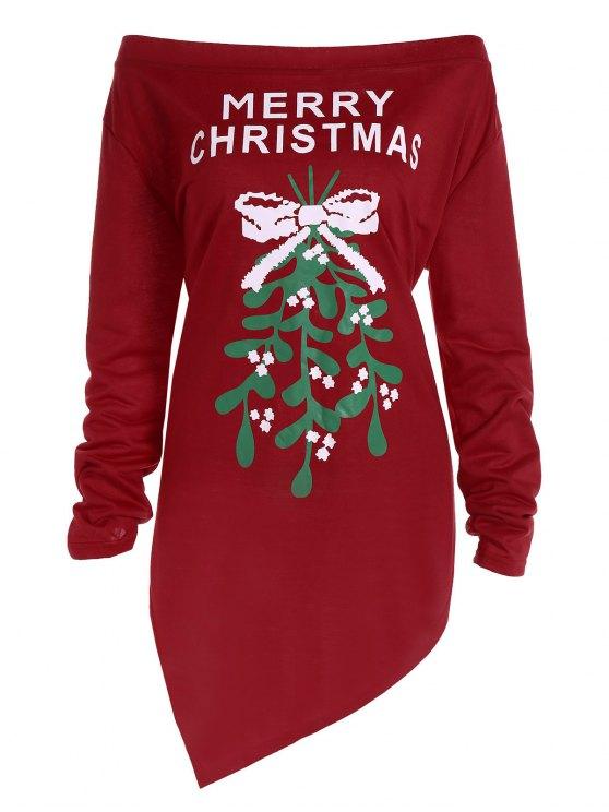 Plus-Größe aus der Schulter Asymmetrische Weihnachten T-Shirt - Dunkelrot XL
