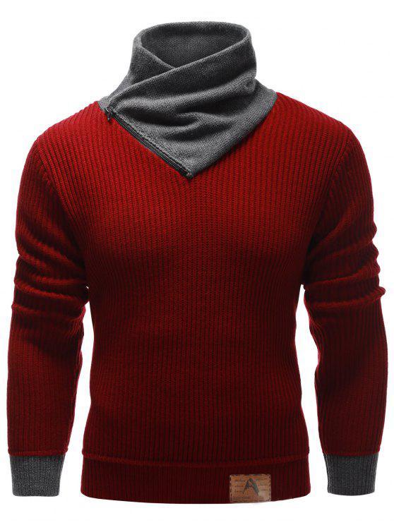Zip Up High Neck Ripp-Pullover-Strickjacke - Burgund 2XL