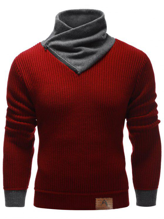 unique Zip Up High Neck Ribbed Pullover Sweater - BURGUNDY M