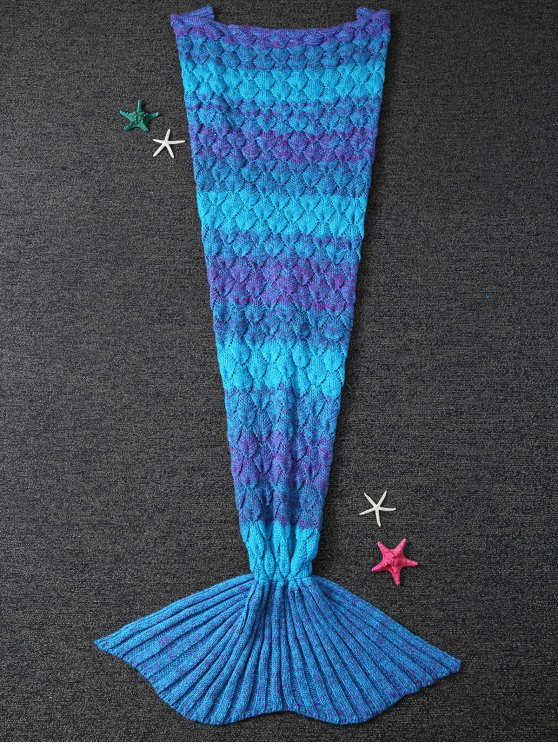 Drap tricoté style sirène - Bleu