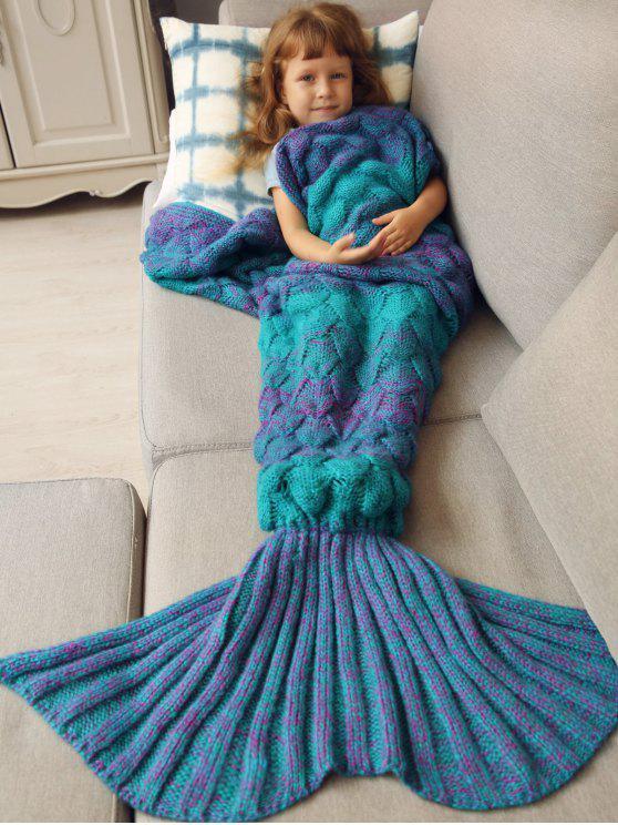 shop Kids Sleeping Bag Knitted Mermaid Blanket - BLUE