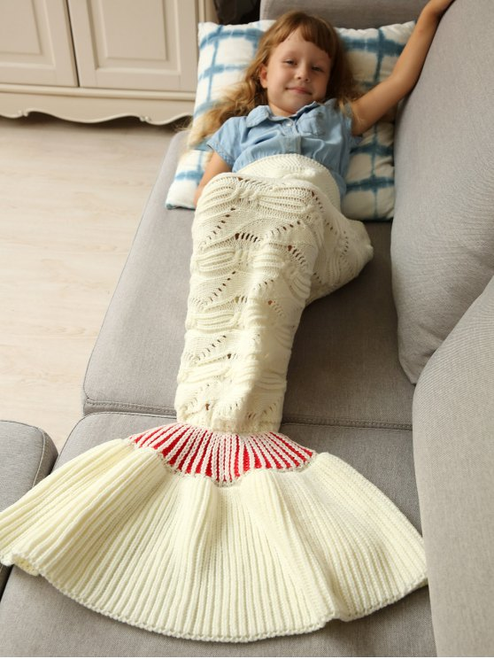 best Knitted Hollowed Wrap Kids Mermaid Blanket - WHITE M