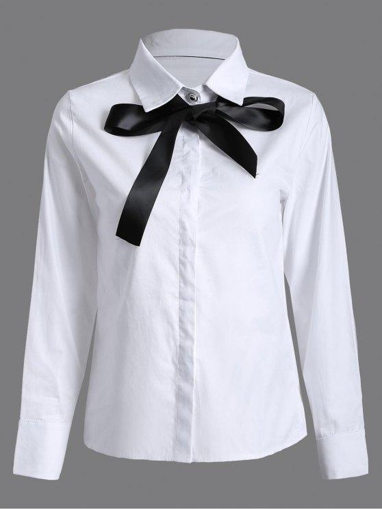 shops Bowknot Long Sleeve Shirt - WHITE S