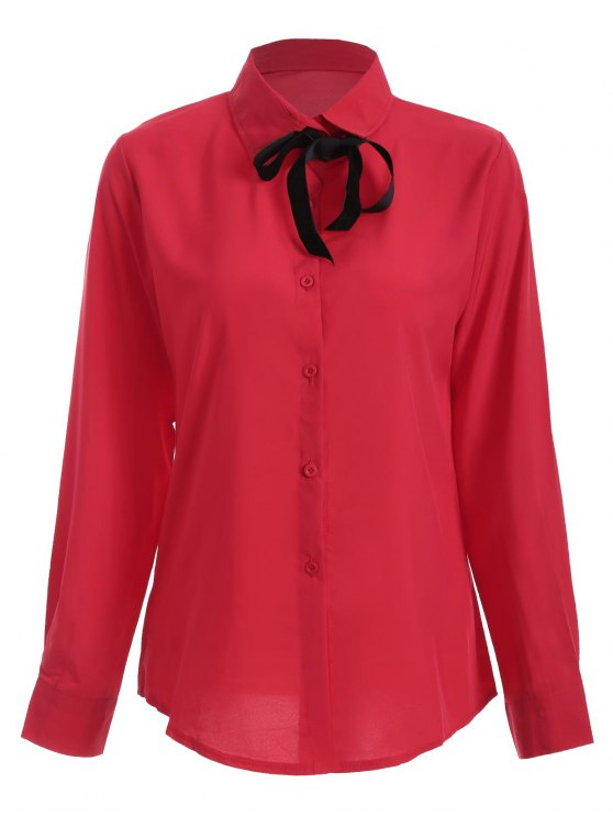 hot Bowknot Long Sleeve Button Up Shirt - RED L