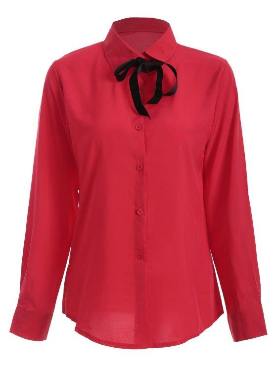 Camisa de manga larga del Bowknot de la túnica - Rojo L