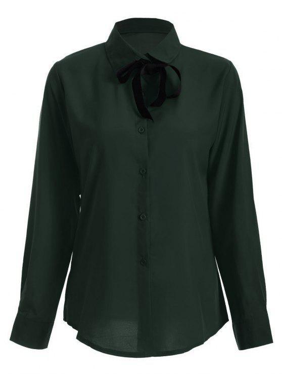 Camisa de manga larga del Bowknot de la túnica - Verde negruzco S