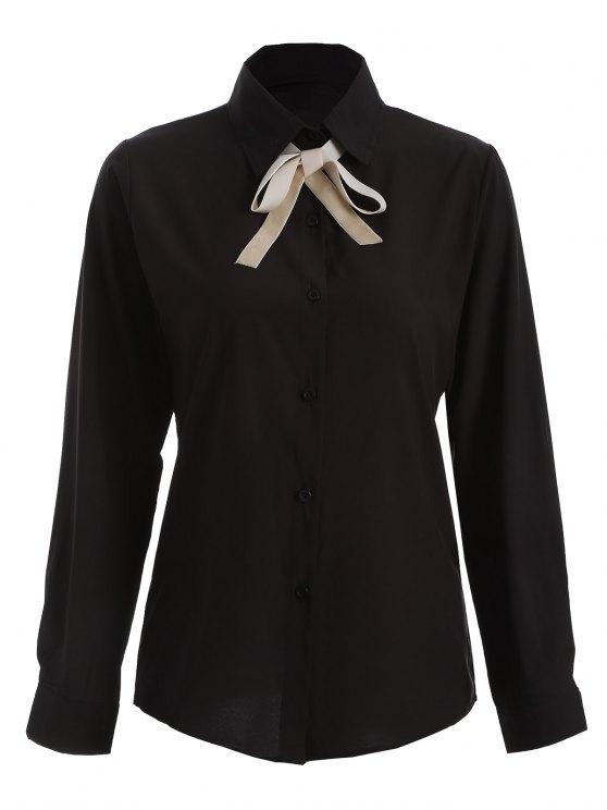 Camisa de manga larga del Bowknot de la túnica - Negro L