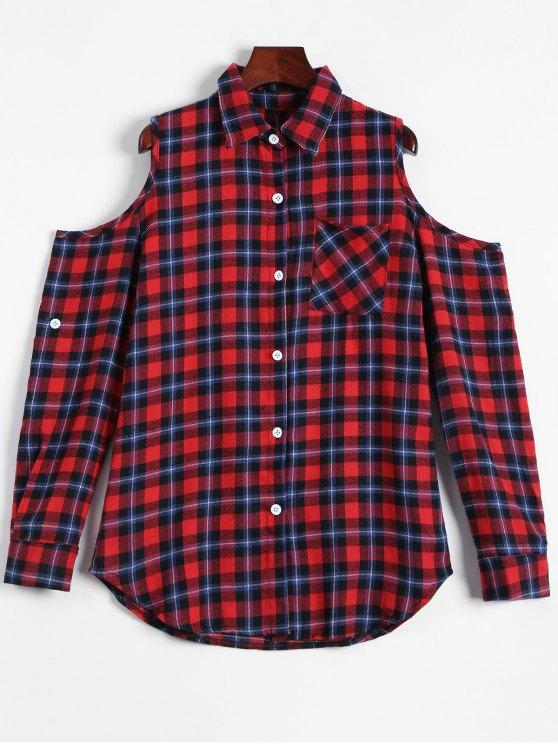 best Plaid Buttoned Cold Shoulder Shirt - MULTICOLOR XL