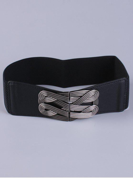 online Faux Leather Stretch Belt - BLACK