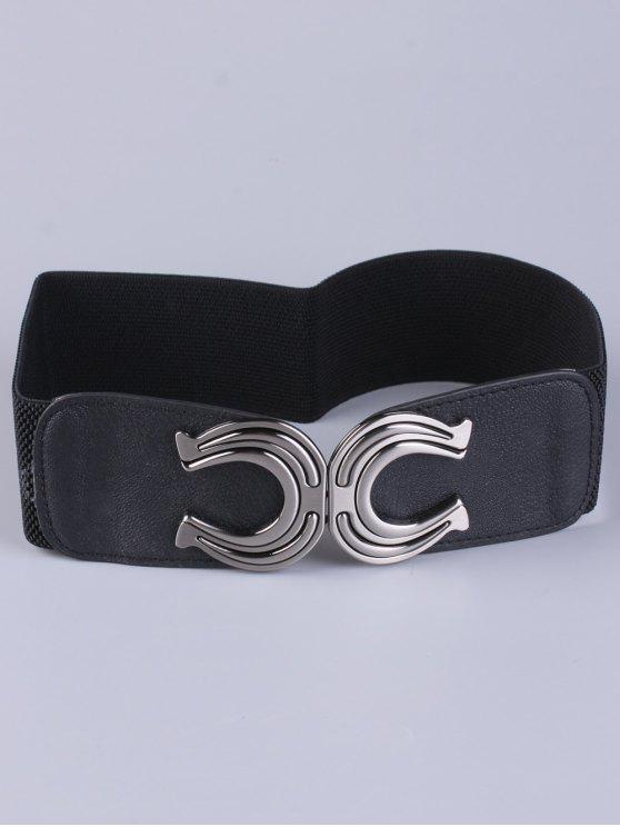 hot X Shape Buckle Elastic Belt - BLACK