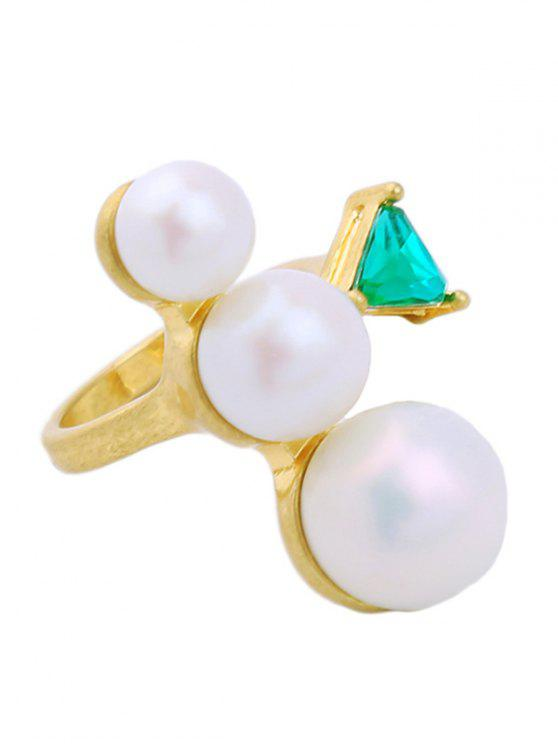 fancy Faux Pearl Geometric Gem Cuff Ring - WHITE