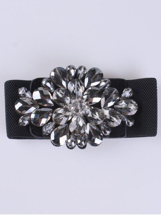 fancy Faux Crystal Elastic Wide Belt - BLACK