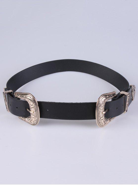 unique PU Double Pin Buckle Belt - GOLDEN