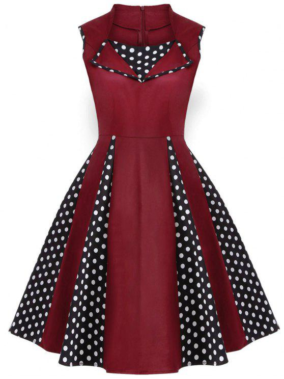 hot Vintage Sleeveless Polka Dot Dress - BURGUNDY L
