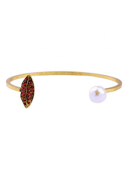 shop Rhinestone Embellished Faux Pearl Cuff Bracelet - GOLDEN