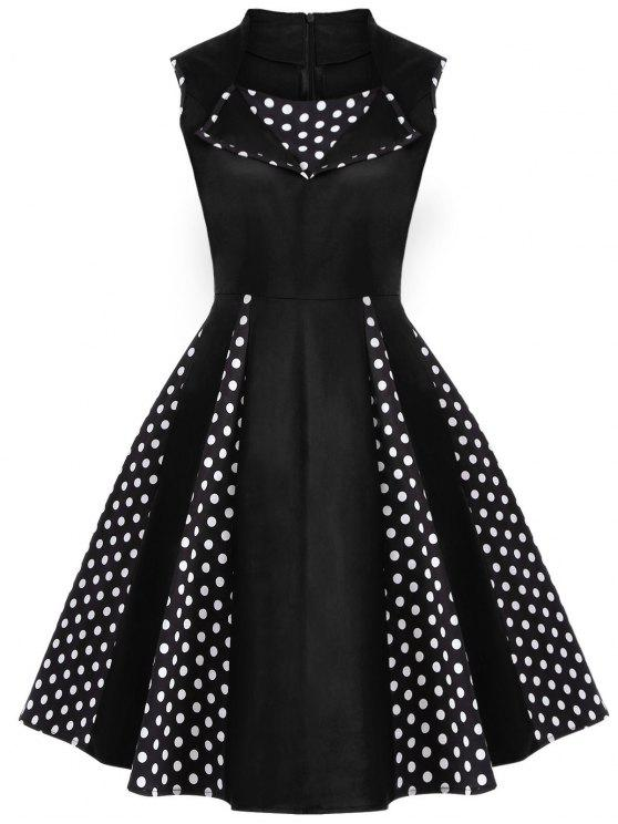 fancy Vintage Sleeveless Polka Dot Dress - BLACK M