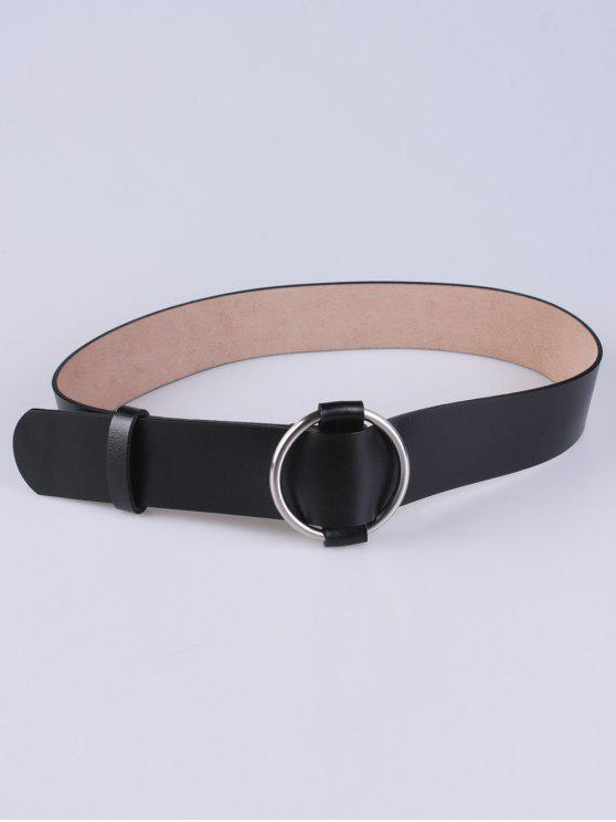best PU Round Buckle Adjustable Belt - BLACK