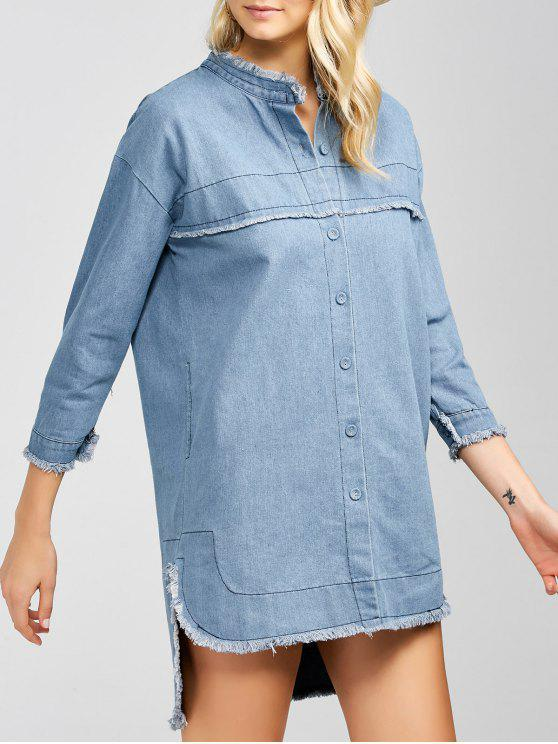 latest High-Low Denim Dress - LIGHT BLUE 2XL
