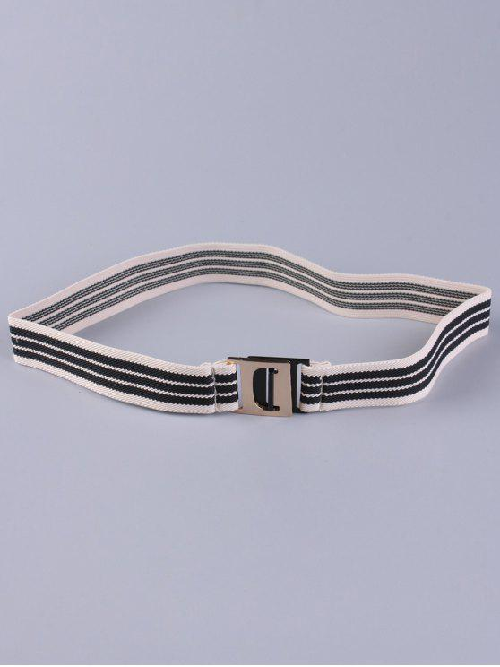 new Striped Elastic Wide Belt - BLACK