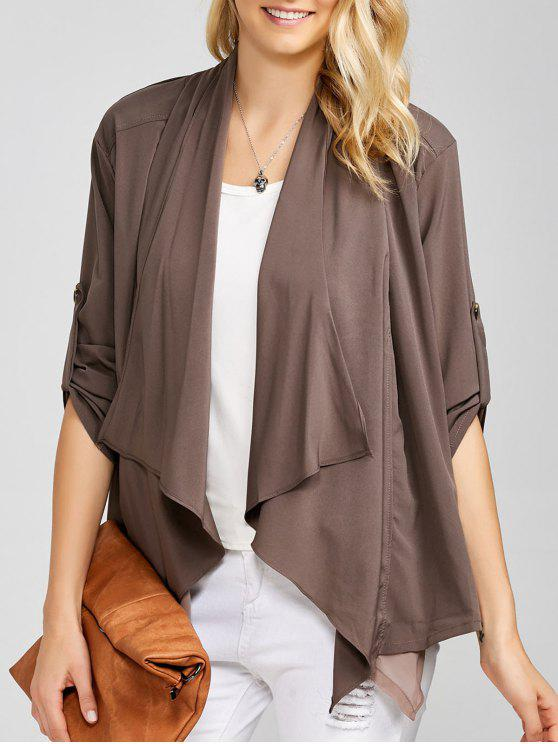 best Casual Asymmetric Duster Coat - BROWN ONE SIZE