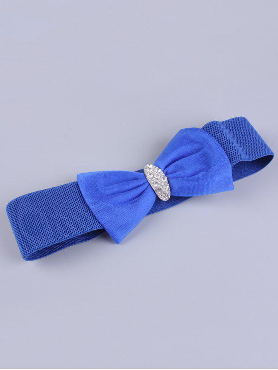 outfit Bowknot Rhinestone Elastic Wide Belt - BLUE