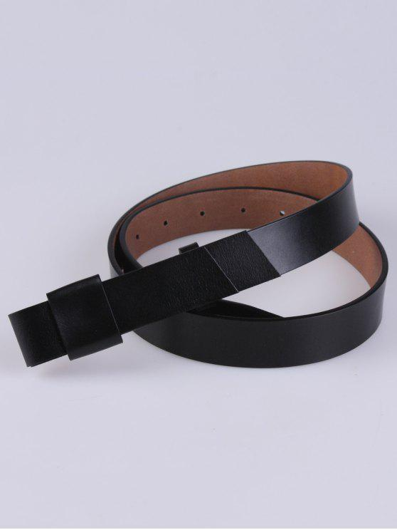 fashion Adjustable Faux Leather Belt - BLACK