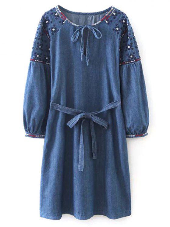 Bordado manga comprida vestido vintage - Azul L