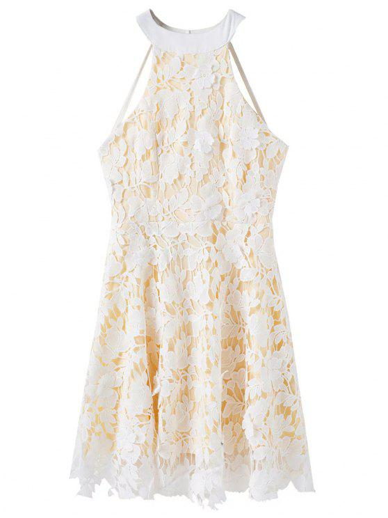 shop Floral Applique Lace Skater Dress - WHITE L