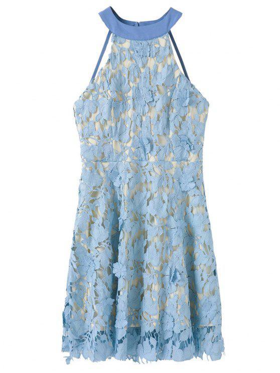 fashion Floral Applique Lace Skater Dress - BLUE M