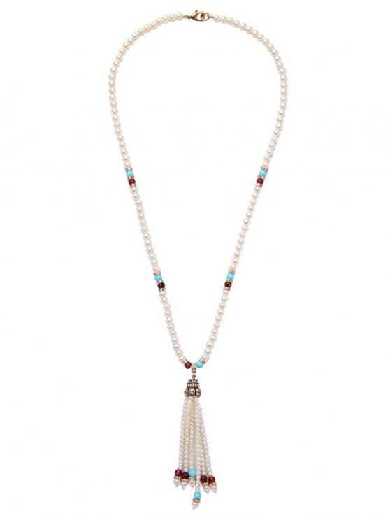 buy Faux Pearl Tassel Crystal Necklace - WHITE