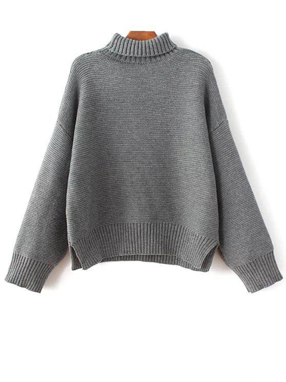 De gran tamaño de la tortuga suéter de cuello - Gris Única Talla