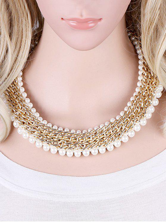 women Alloy Fake Pearl Embellished Necklace - GOLDEN
