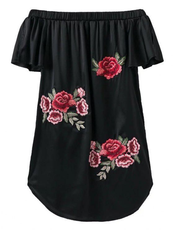 الفستان القصير بنمط الزهور بلا أكتاف - أسود L