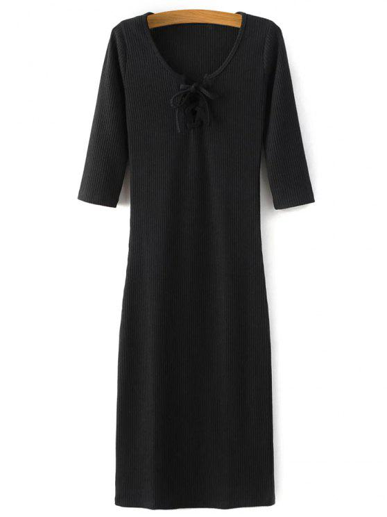 lady Lace-Up Knitting Dress - BLACK S
