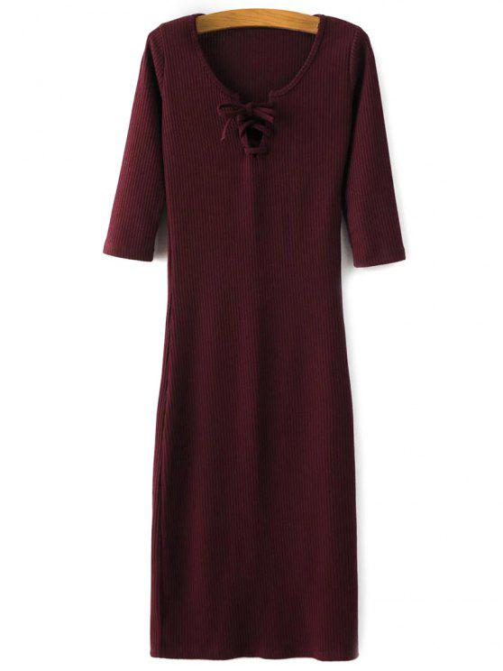 online Lace-Up Knitting Dress - WINE RED M