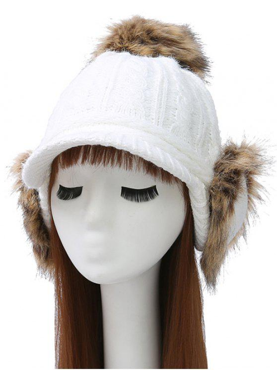 lady Pom Ball Hemp Flowers Knitted Hat - WHITE