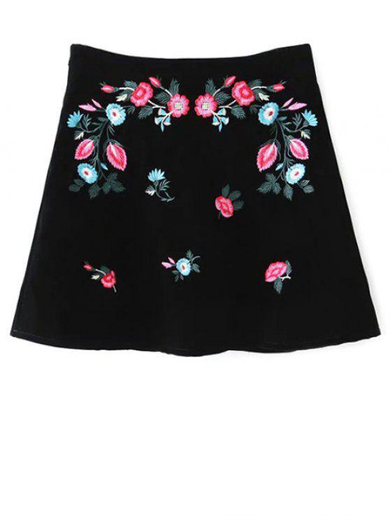 Étnico floral una línea de Falda - Negro L