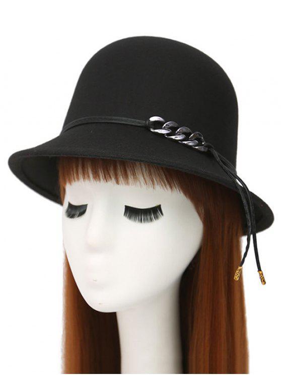 shop PU Rope Dome Hat - BLACK