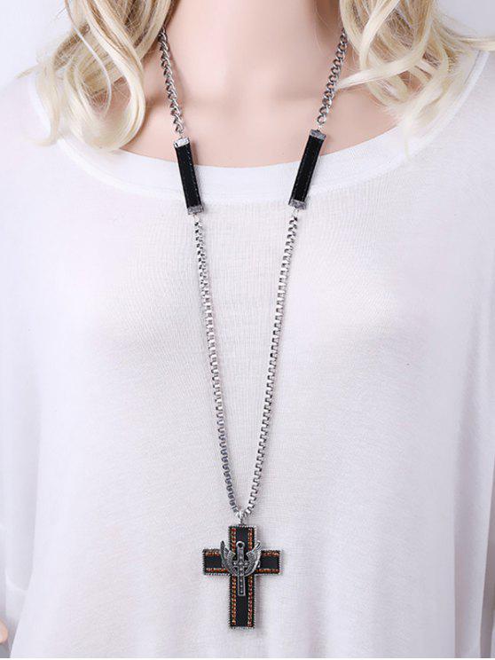 Strass Double Cross Anhänger Halskette - Silber