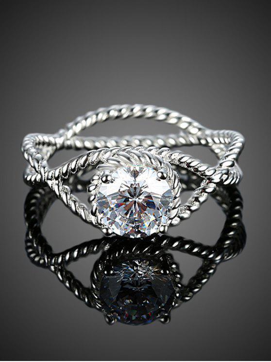 Círculo del anillo de diamante S925 - Plata 7