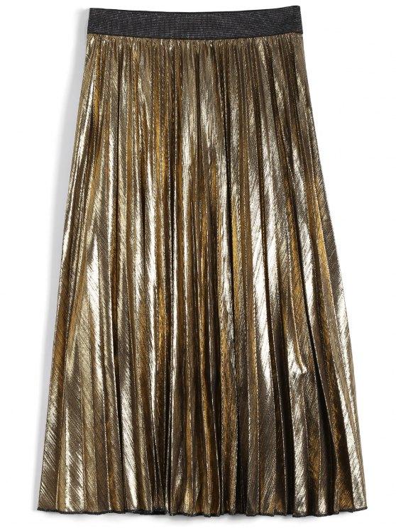 Longitud de la falda plisada de color metálico del té - Dorado S